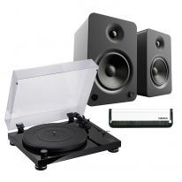 Audio Technica AT-LPW50PB + Kanto YU4 (Black) Bundle